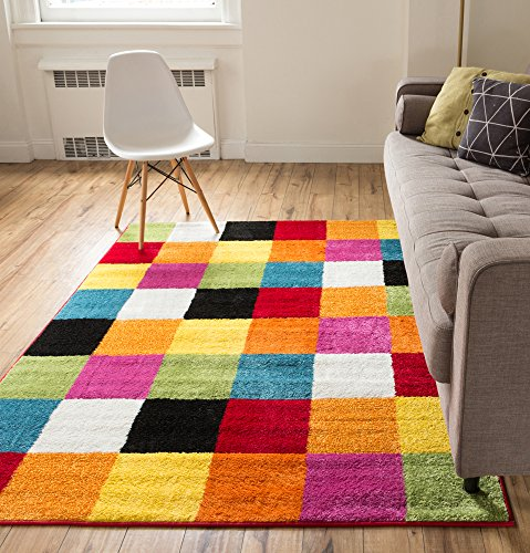 Well Woven Squares Soft Multi Geometric Accent Area Rug, 5'X7′