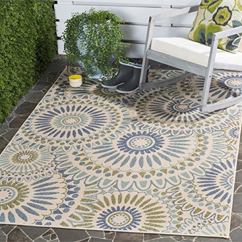 Safavieh Veranda Collection VER091-0614 Indoor/ Outdoor Cream and Green Contemporary Area Rug 4′ x 5'7″