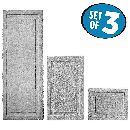 mDesign Soft Microfiber Non-Slip Bathroom Mat/Rug for Bathroom, Vanity, Bathtub/Shower, Dorm Room – Set of 3, Gray
