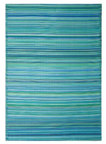Fab Habitat Cancun Indoor/Outdoor Rug,  Turquoise & Moss Green, 5′ x 8′