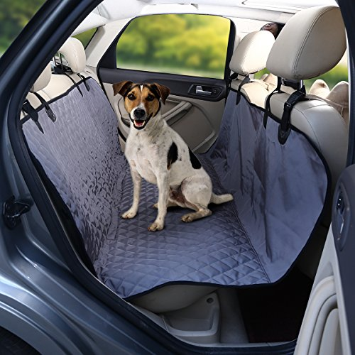 isYoung Portable Dog Car Seat Cover with Non – skid Design – Odorless, Waterproof Hammock – Harmless to Dog Seat Cover for Cars Black/Gray