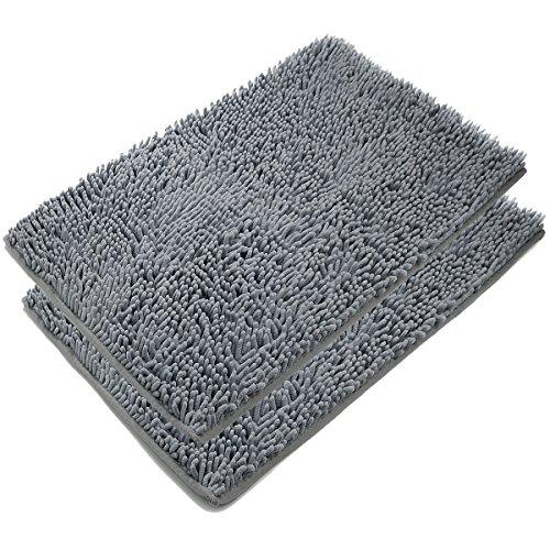 VDOMUS Absorbent Microfiber Bath Mat Soft Shaggy Bathroom Mats Shower Rugs – 2 Pieces Gray