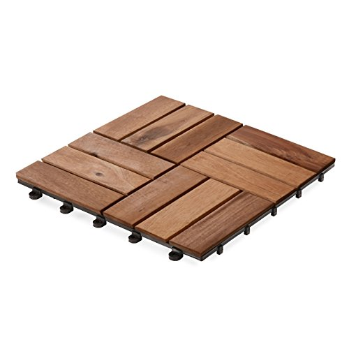 casa pura Interlocking Patio Tiles | Acacia Wood Deck Flooring | Suitable for Indoor and Outdoor Applications | Stripe Pattern | 12×12 inches – Pack of 11 Tiles
