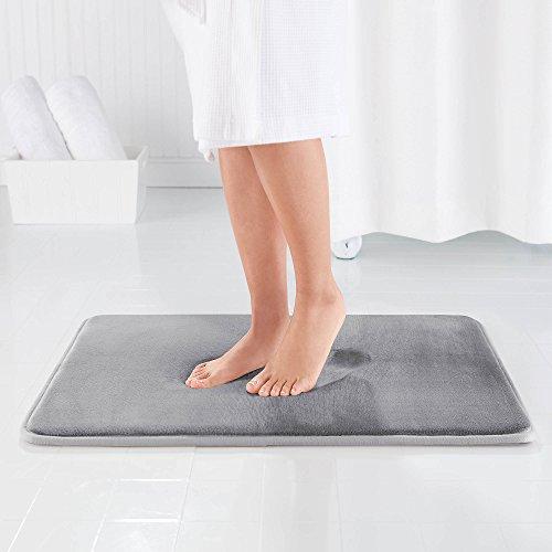 Genteele Memory Foam Bath Mat Non Slip Absorbent AND BEST Super Cozy Velvet Bathroom Rug Carpet Gray, 22″ X 36″