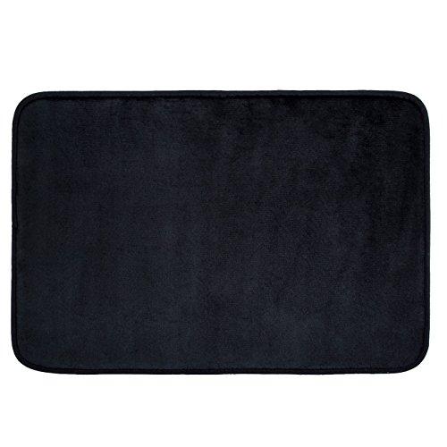 Techfeed Memory Foam Bath Mat Absorbent Bathroom Rugs Soft Bathroom Mat Quickly Drying Shower Rugs Non Slip Bath Rugs17″ x 24″ Black