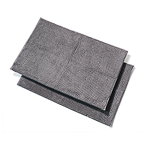 Pack of 2 Extra-Soft Microfiber Shag Bathroom Mat, Non-Skid Back, Fast Dry, 32 x 20-inches Grey