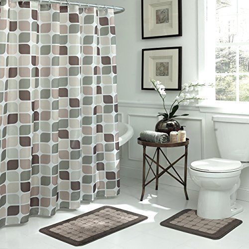 Bath Fusion Zaragoza Geometric 15-Piece Bath Set, Linen/Chocolate