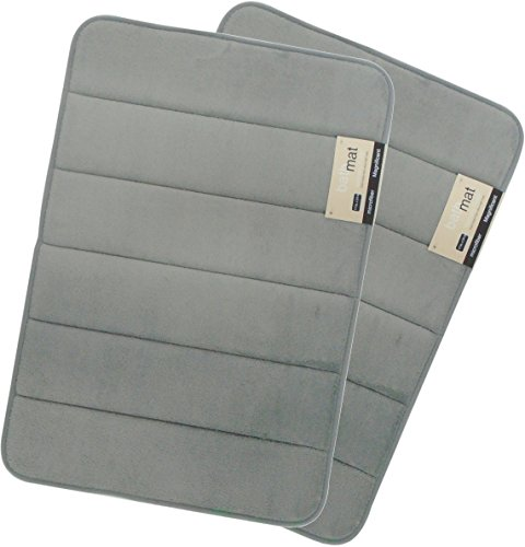 Magnificent 17 X 24 inch Memory Foam Bath Mat, Soft, Non-slip, High Absorbency – 2 Pack Grey