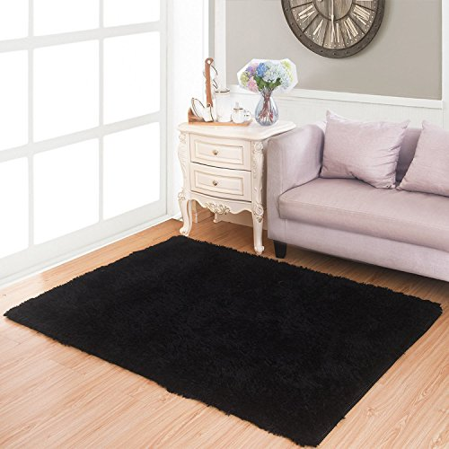 Living Room Bedroom Rugs, MBIGM Ultra Soft Modern Area Rugs Thick Shaggy Play Nursery Rug With Non-Slip Carpet Pad For Living Room Bedroom 4 Feet By 5.2 Feet, Black