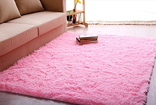 Ultra Soft 4.5 Cm Thick Indoor Morden Area Rugs Pads, New Arrival Fashion Color Bedroom Livingroom Sitting-room Rugs Blanket Footcloth for Home Decorate. Size: 4 Feet X 5 Feet Pink