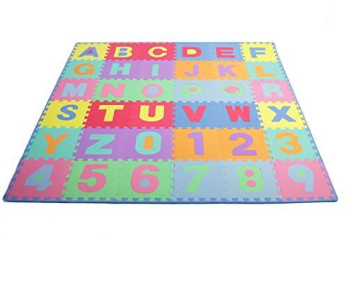 ProSource Kids Puzzle Alphabet, Numbers, 36 Tiles and Edges Play Mat, 12″ by 12″