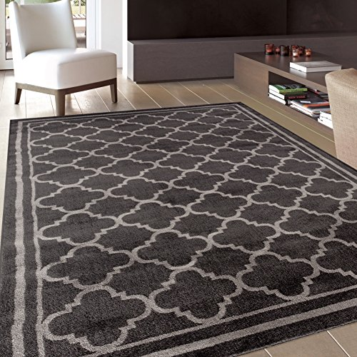 Rug Decor Trellis Contemporary Modern Design Area Rug, 5′ 3″ by 7′ 3″, Dark Grey