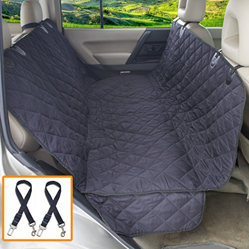 Silk Way Dog Seat Covers for Cars with 2 Dog Seat Belts as Bonus – Convertible to Cargo Area Liner – Sturdy Pet Seat Cover with Strong Straps and Seams, 100% Waterproof, Fits Most Cars Black