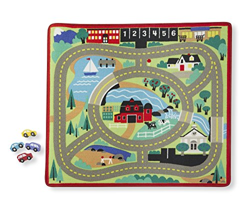 Melissa & Doug Round the Town Road Rug and Car Activity Play Set With 4 Wooden Cars 39 x 36 inches