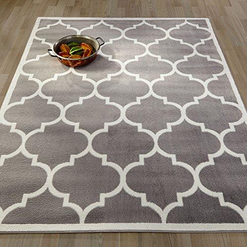 Ottomanson Paterson Collection Contemporary Moroccan Trellis Design Lattice Area Rug, 94″ W, Grey