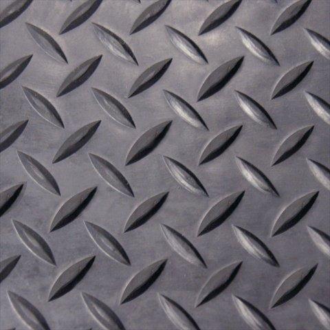 Rubber-Cal Diamond Plate Rubber Flooring Rolls, 1/8-Inch x 4 x 9-Feet, Black
