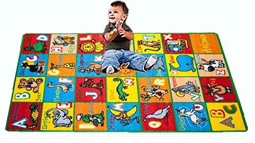 Kids Rug ABC Animals Area Rug 5′ x 7′ Children Area Rug for Playroom & Nursery – Non Skid Gel Backing 59″ x 82″