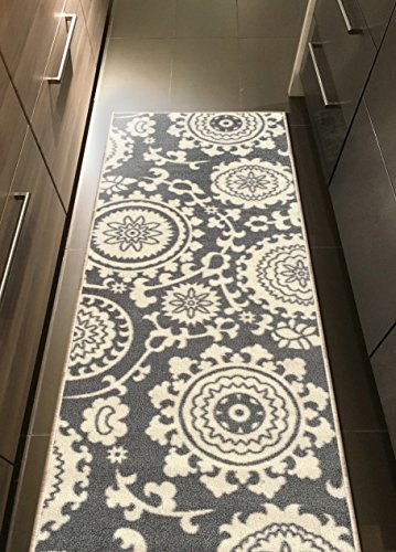 Rubber Backed 20″ x 59″ Floral Swirl Medallion Grey & Ivory Runner Non-Slip Rug – Rana Collection Kitchen Dining Living Hallway Bathroom Pet Entry Rugs RAN2033-25