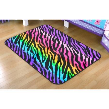 "Your Zone Rainbow Zebra Faux Mink Rectangular Rug, Multi-Color, 2'6″ x 3'10"""
