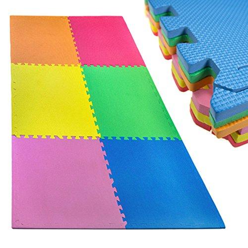 18pc Large Interlocking EVA Foam Floor Mats Exercise Kids Baby 24 Square FeetGym Activity Exercise Play Room