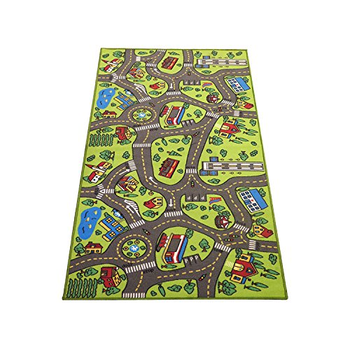 Play, Learn And Have Fun Safely – Extra Large 79″ x 40″! Kids Carpet Playmat Rug- Great For Playing With Cars