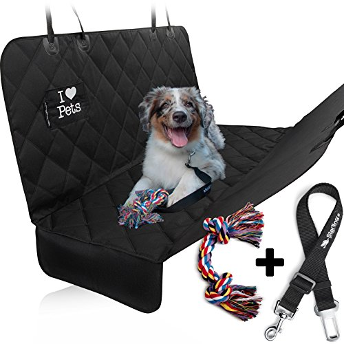 New Design! Double Stitched&Reinforced, Hammock Style, Heavy Duty Waterproof Quilted Polyester, Non-Slip, for Cars & SUV –W/Pet Car Seat Belt & Dog Toy – Starling's Luxury Dog Seat Cover for Cars