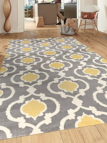 Rugshop Moroccan Trellis Contemporary Indoor Area Rug, 5'3″ x 7'3″, Gray/Yellow