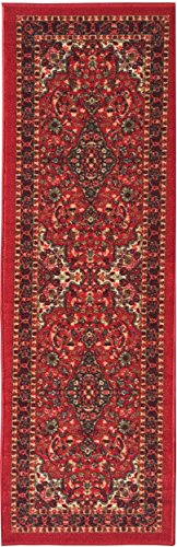Ottomanson New Ottohome Persian Heriz Oriental Design Runner Rug with Non-Skid Rubber Backing,  Red,  22″ L x 84″ W