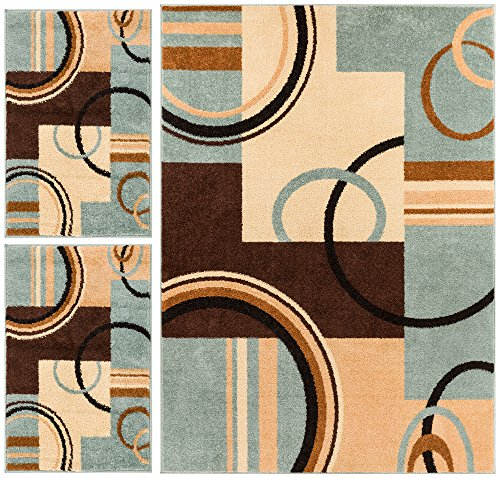 Wheelhouse Modern Abstract Geometric Contemporary Multi Blue Beige Ivory Brown Green 3-piece Living Dining Room Entryway Bathroom Kitchen Ultra Value Area Rug Set 5×7 and Bonus 2×3 Mats