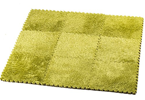9 Fluffy Carpet Tiles for Kids – HemingWeigh Fuzzy Area Rug – Ideal for Nursery Décor, Baby Room, Playroom and Kids Room. Plush, Velvet-like Texture, Anti-slip & Durable Rug Green