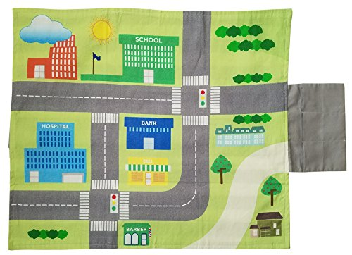 Danha Car Play Mat For Toddlers & Kids 15 x 18.5″   Easily Foldable & Portable City Floor Rug With Velcro Closure   Small Learning Travel Playing Mat With Toy Carry Pouch   Ideal Gift For Girls & Boys