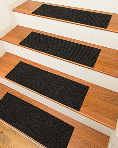 NaturalAreaRugs Halton Polyester Carpet Stair Treads, Handmade, Rubber Backing, Durable, Stain Resistant, Environmental-Friendly, Charcoal, Set Of 13 9 Inches X 29 Inches