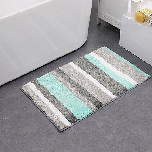 HEBE Microfiber Bath Rugs Non Slip Bath Mats Absorbent Bathroom Rugs Machine Washable18×26″, blue/grey
