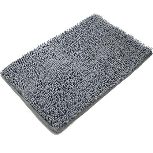 Vdomus Non-slip Microfiber Shag Bathroom Mat, 20 x 32-Inches, Dark Gray