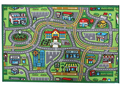 J & M Home Fashions Kids Play Rug Educational Rug, Street Map, 40″ by 60″