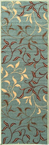 Ottomanson Otto Home Contemporary Leaves Design Modern Runner Rug with Non-Skid Rubber Backing,  Sage Green/Aqua Blue,  20″ L x 59″ W