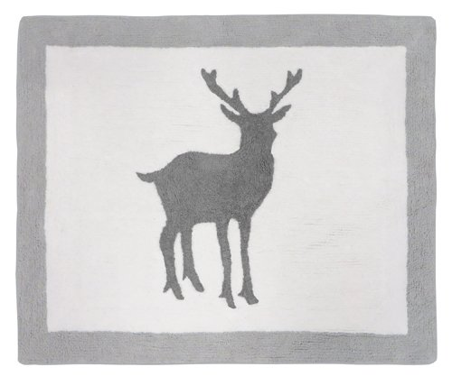 Sweet Jojo Designs Accent Floor Rug for Grey and White Woodland Animals Kids Bedding Collection