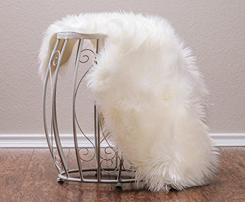 Chanasya Super Soft Fuzzy Faux Mangolian Fur Warm and Cozy Elegant Chic Style Sheepskin Chair Sofa Couch Cover Pad Solid Shaggy Area Rug Nursery Decorative Luxurious Rugs- Ivory White 2 ft x 3 ft