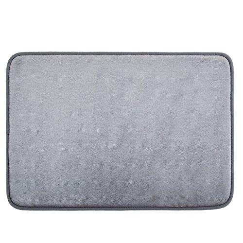 Techfeed Memory Foam Bath Mat Absorbent Bathroom Rugs Soft Bathroom Mat Quickly Drying Shower Rugs Non Slip Bath Rugs17″ x 24″ Gray