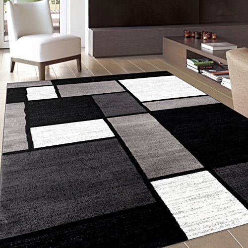 Rug Decor Contemporary Modern Boxes Area Rug, 2′ by 3′, Grey
