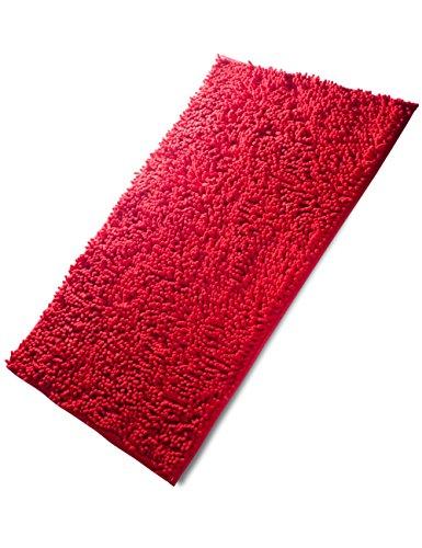 Fadesun Super Soft Absorbent Non-slip Microfiber Chenille Carpet/Doormat/Bath Mat/Rug Carpet/Floor Rug for Bedroom,Sitting Room,Corridor,Kitchen,Bathroom,and Car Seats,Shower,20″x32″,Red
