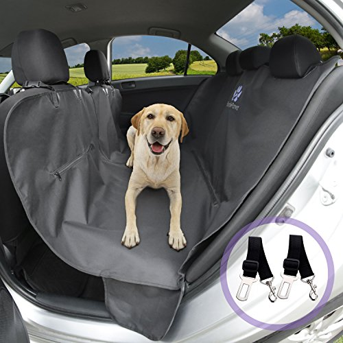 Improved Design to give your Pet the Best- Hammock Style Protects your Back Seat from Dirt and Fur- Premium Durable Waterproof Polyester- Black- BONUS 2 Safety Dog Seat Belts – Dog Car Seat Cover