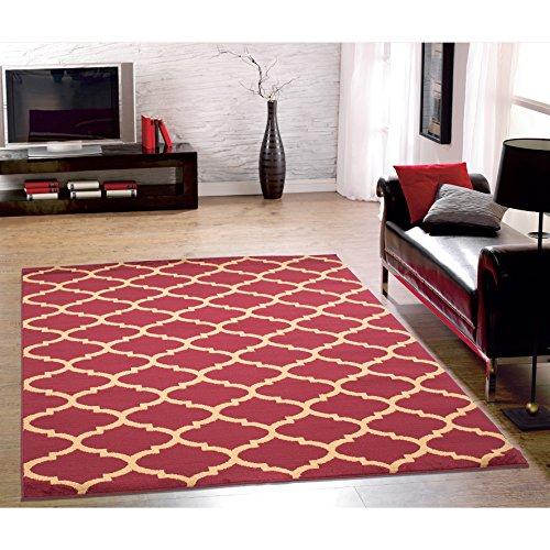 Ottomanson Royal Collection Contemporary Moroccan Trellis Design Area Rug, 5'3″ x 7'0″, Dark Red