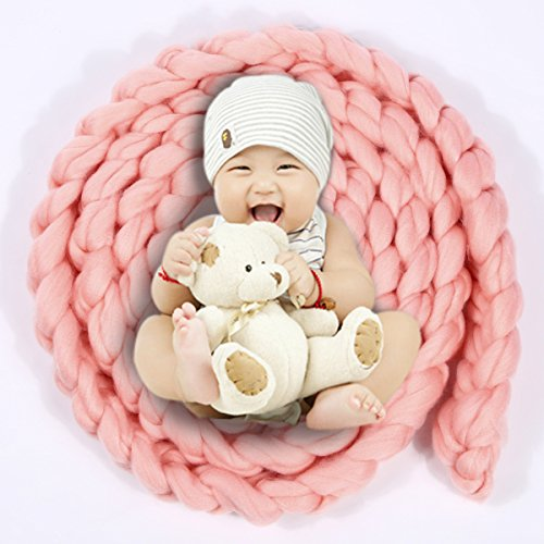 Newborn Baby Photography Prop Backdrop Handmade Crochet Knitted Braid Wool Spinning Fiber Wrap Pink