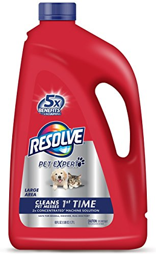 Resolve Pet Carpet Steam Cleaner Solution, 60 fl oz Bottle, 2X Concentrate