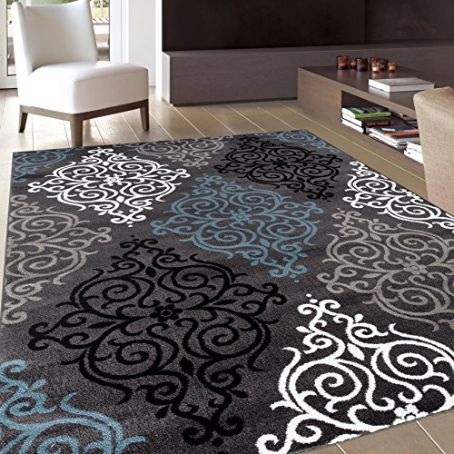 Rug Decor Modern Transitional Soft Damask Area Rug, 3'3″ by 5′ 3″, Grey