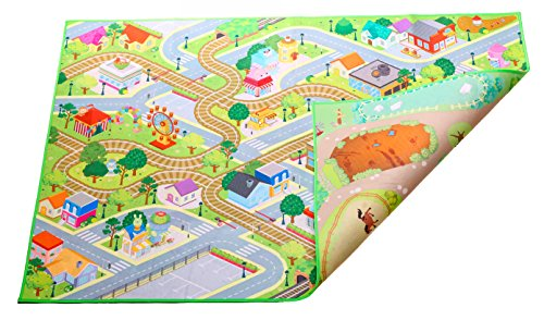 2 in 1 City & Farm, indoor / outdoor, machine washable 59″L x 39″W – Kids Double Sided Felt Play Mat