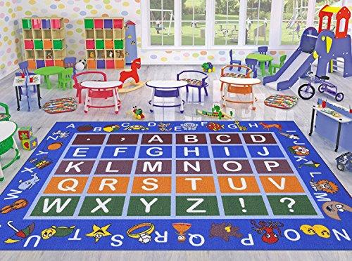 "Ottomanson Jenny Collection Light Blue Frame with Multi Colors Kids Children's Educational Alphabet Non-Slip Area Rug, Blue, 8'2″ x 9'10"""