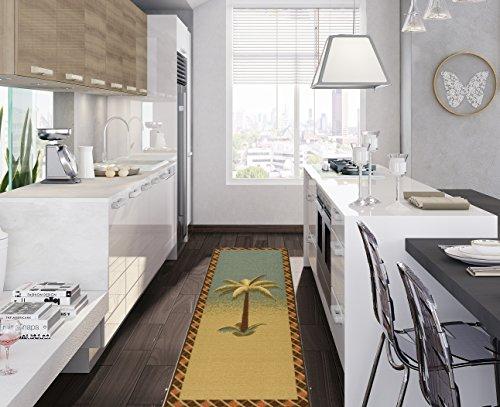 Ottomanson Sara's Kitchen Tropical Palm Tree Design Bathroom Mat Runner Rug with Non-Skid Non-Slip Rubber Backing, 20″ x 59″, Multicolor