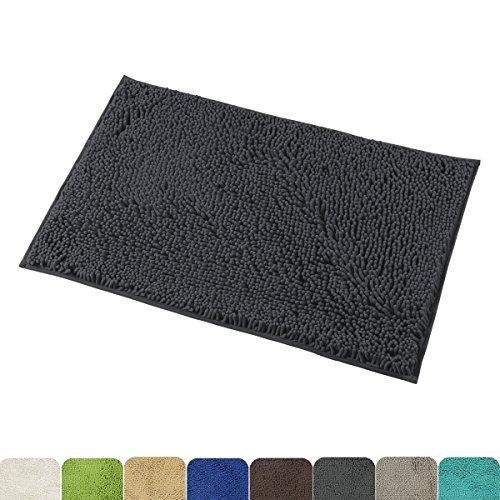 Mayshine 20×32 inch Non-slip Bathroom Rug Shag Shower Mat Machine-washable Bath mats with Water Absorbent Soft Microfibers of – Dark Gray